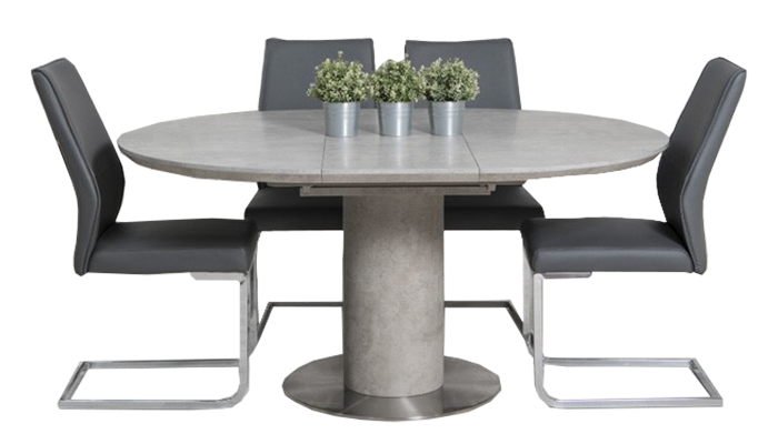 120cm Round Ext Table & 4 Chairs
