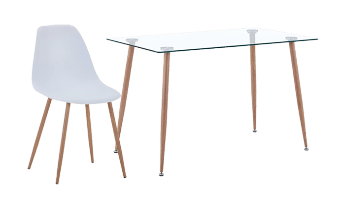 120cm Table & 4 White Chairs