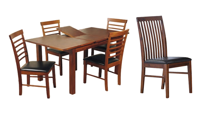 120cm Ext Table & 4 Slat Chairs