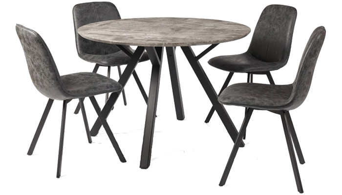 110cm Round Table & 4 Chairs