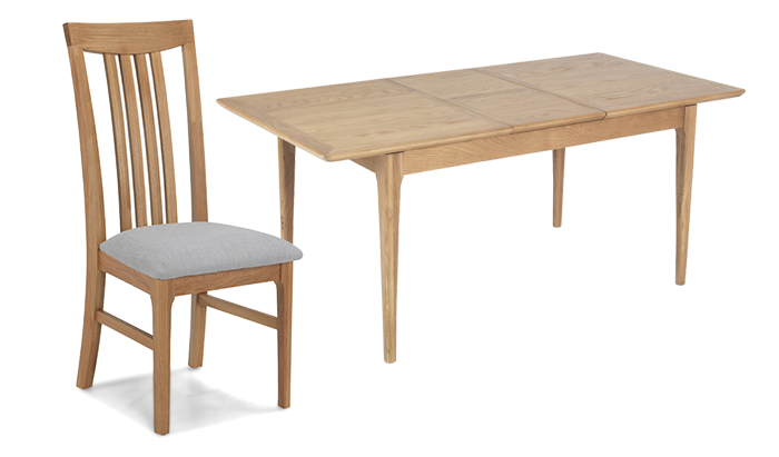 140cm Ext Table & 4 Wooden Chairs