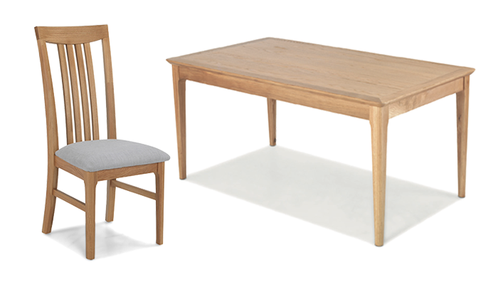 160cm Table & 4 Wooden Chairs