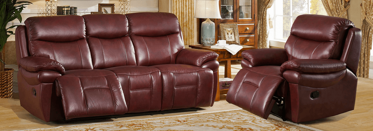 Leather 3 Seater Manual Recliners