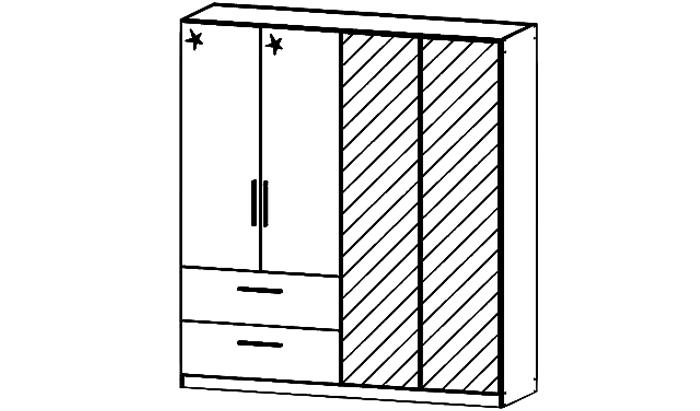 Cadiz 4 Door Combination Robe with mirror