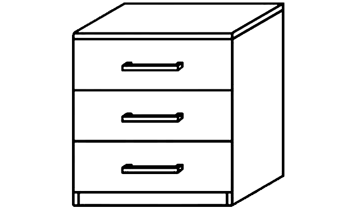 Karuna 3 Drawer Bedside