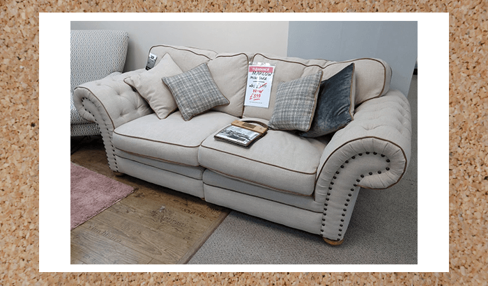 Fabric Midi 2 Seater Sofa with Leather Piping