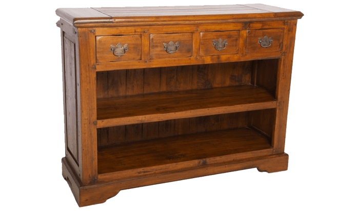 East Indies Open Bookcase with 4 Drawers