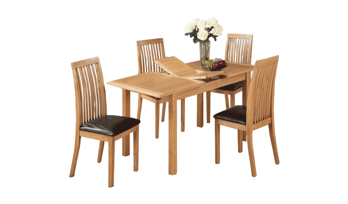 Exeter City Oak 120cm Ext Table & 4 Chairs