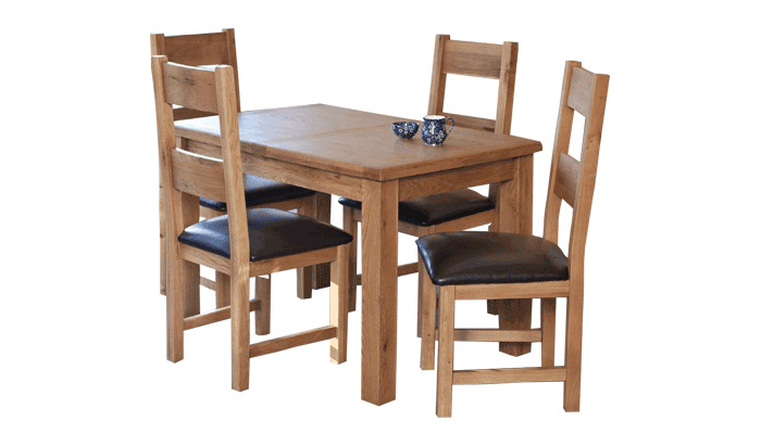 120cm Ext Table & 4 Ladder/B Chairs