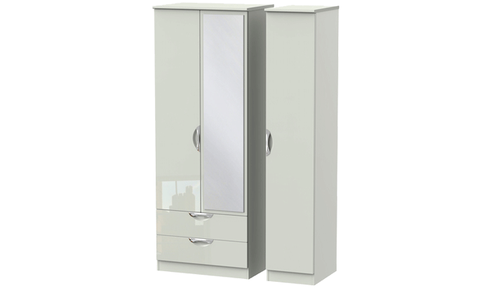 Sahara 3 Door mirrored Combination Wardrob
