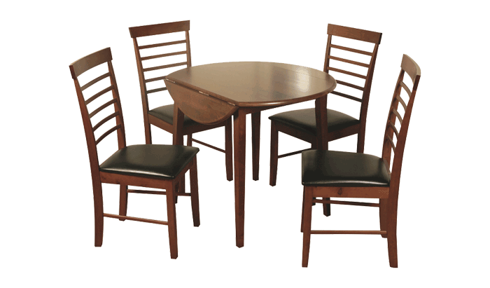 Round Dropleaf Table & 2 Chairs